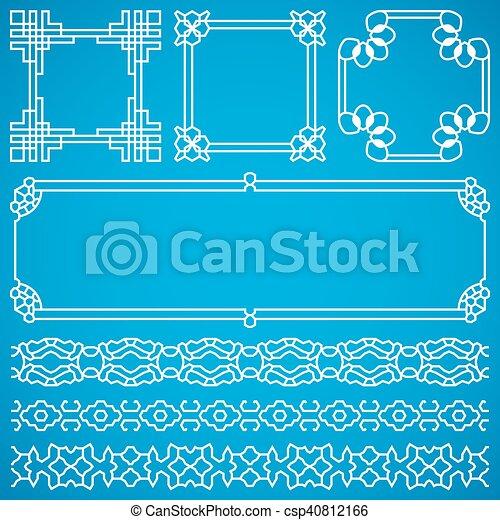 装飾用である, 中国語, 装飾, ベクトル, 東洋人, フレーム, ボーダー - csp40812166