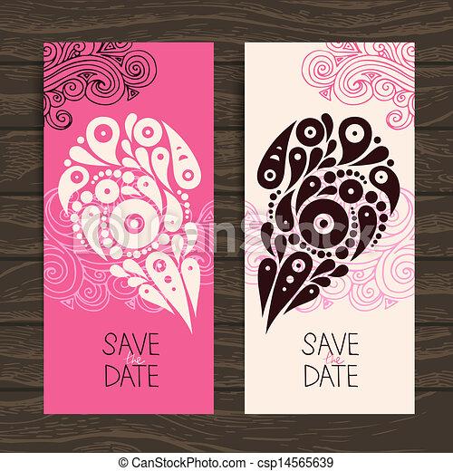 装飾用である, 心, 結婚式の招待, 流行, カード - csp14565639