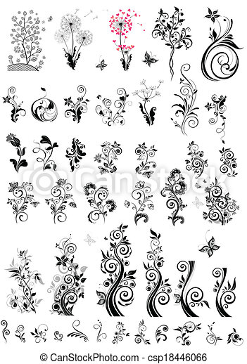 装飾用である, 花の要素, デザイン, ( - csp18446066