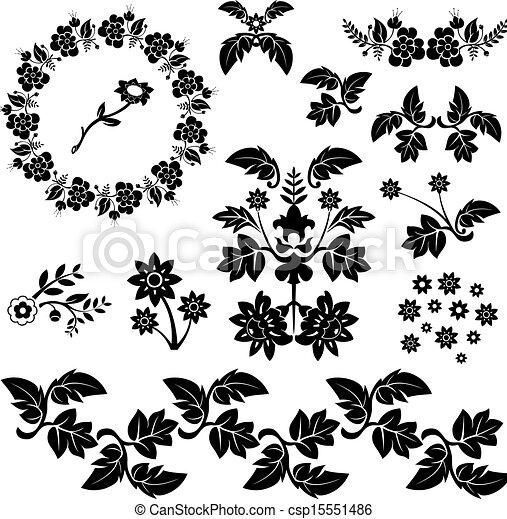 装飾用である, 花の要素, デザイン, 漫画 - csp15551486