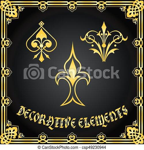 装飾用である, 花の要素, デザイン, 装飾 - csp49230944