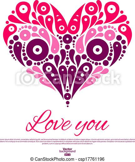 装飾用である, heart., バレンタイン, 招待, 結婚式, 流行, 日, カード - csp17761196