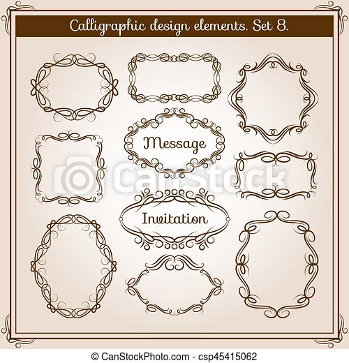 装飾用, セット, frames., 枝編み細工, フレーム, calligraphic, ベクトル, レトロ, 花, 活気づきなさい, 図画 - csp45415062