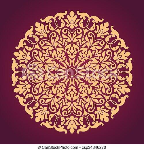 装飾用, pattern., ラウンド, レース - csp34346270