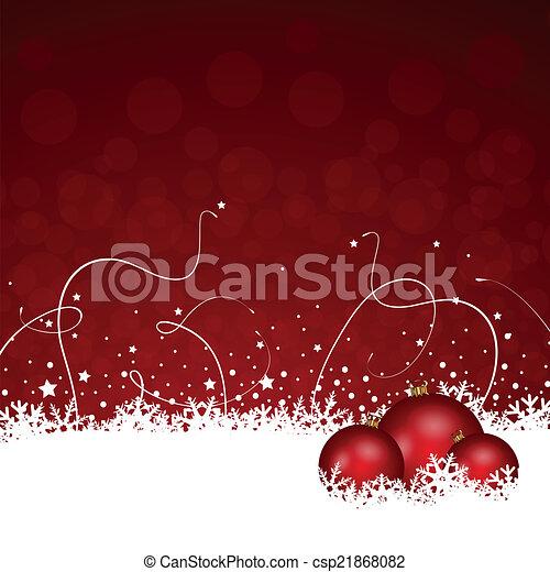 装飾, クリスマス, 赤, 雪が多い - csp21868082