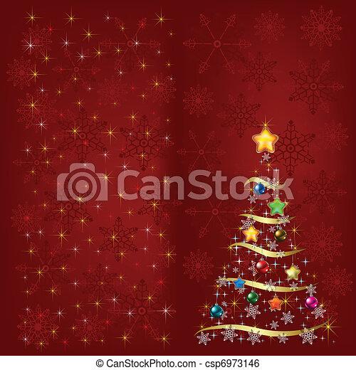 装飾, 木, 雪片, クリスマス - csp6973146