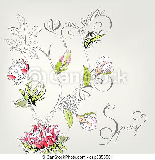 装饰, 春天, 卡片 - csp5350561