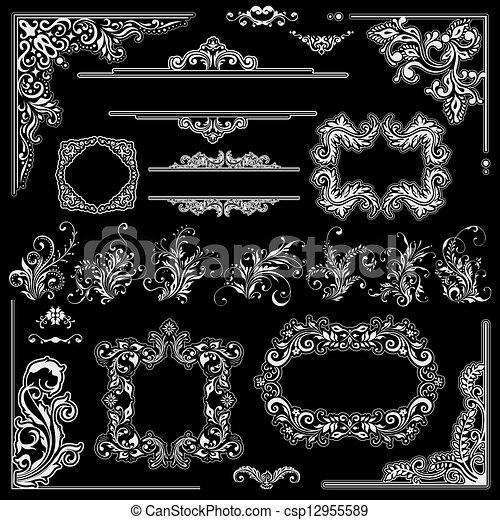 裝飾品, 角落, 葡萄酒, 裝飾, 框架, 婚禮, 植物, 花, design. - csp12955589