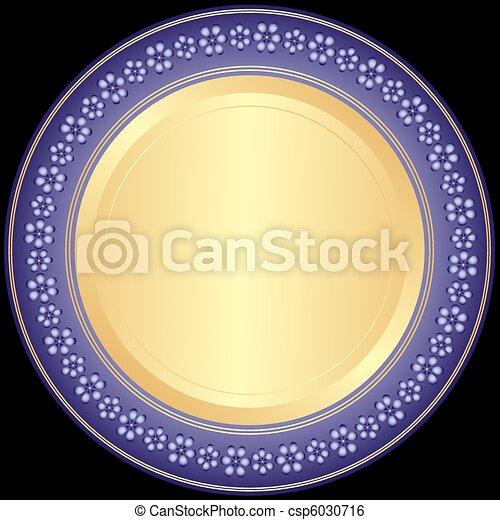 裝飾的盤子, violet-golden - csp6030716