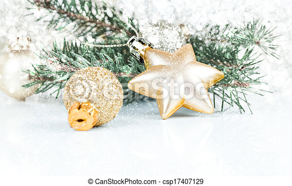 裝飾, 黃金, 模仿, 聖誕節, 空間 - csp17407129