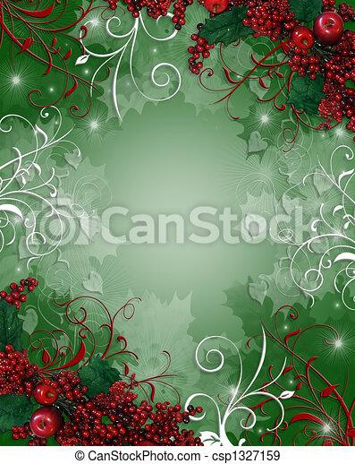 西洋ヒイラギ, クリスマス, 背景, ベリー - csp1327159
