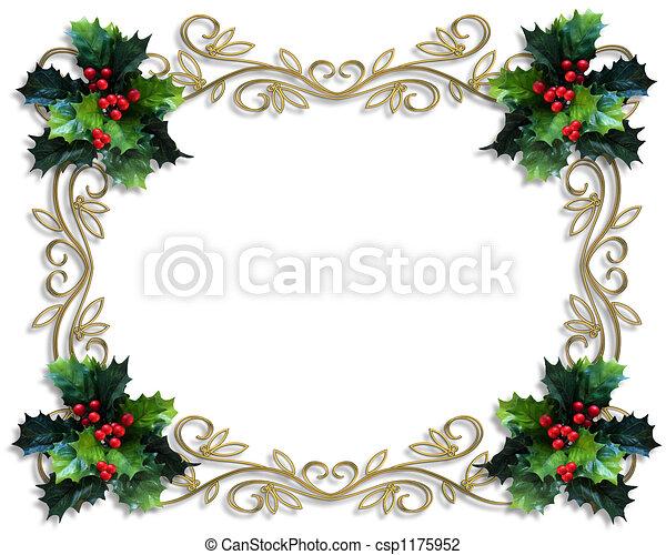 西洋ヒイラギ, ボーダー, クリスマス - csp1175952