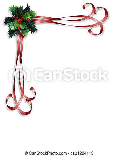 西洋ヒイラギ, リボン, ボーダー, クリスマス - csp1224113