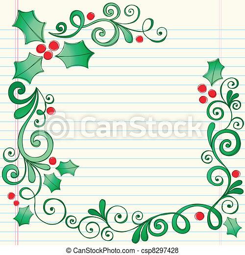 西洋ヒイラギ, sketchy, クリスマス, doodles - csp8297428