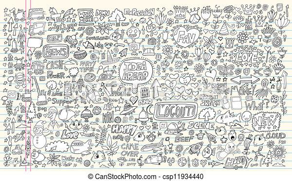 要素, いたずら書き, デザインを設定しなさい, ノート - csp11934440