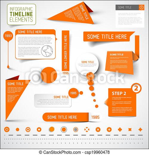 要素, タイムライン, /, infographic, テンプレート, オレンジ - csp19960478