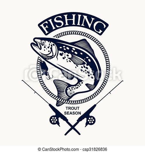 要素, デザイン, 釣り, 型, ラベル, 紋章, マス - csp31826836