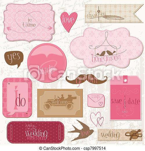 要素, ロマンチック, タグ, 招待, -for, ベクトル, デザイン, 結婚式, スクラップブック - csp7997514