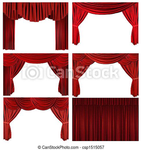 要素, 古い, 優雅である, 劇的, 作られた, 劇場, 赤, ステージ - csp1515057