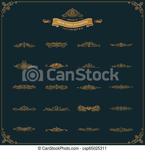 要素, 型, 仕切り, calligraphic, セット, 装飾, 新しい, ページ - csp65025311