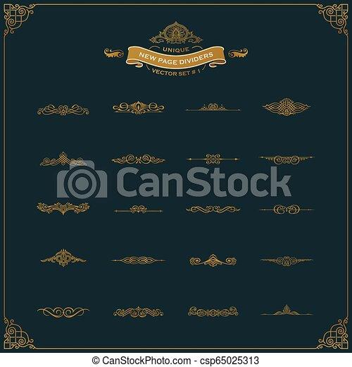 要素, 型, 仕切り, calligraphic, セット, 装飾, 新しい, ページ - csp65025313