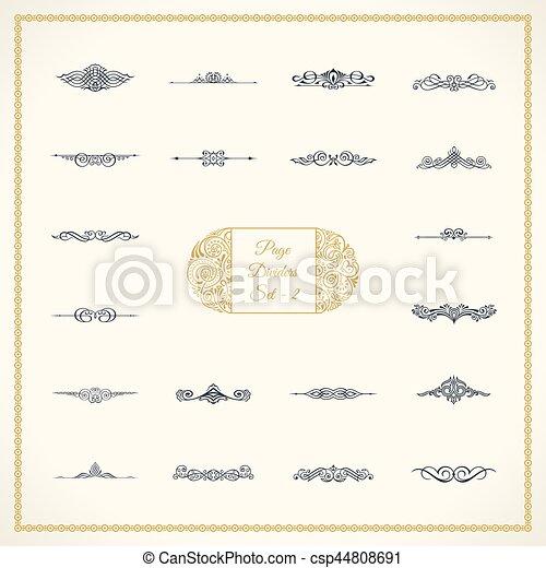 要素, 型, 仕切り, calligraphic, セット, 装飾, 新しい, ページ - csp44808691
