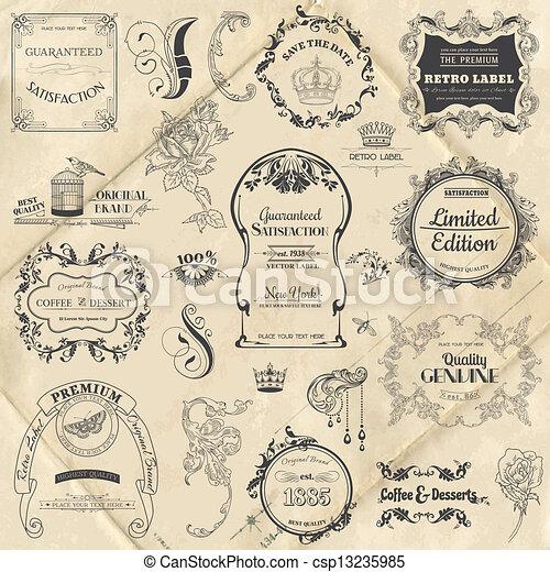 要素, 装飾, フレーム, コレクション, calligraphic, ベクトル, デザイン, 型, 花, ページ, set: - csp13235985