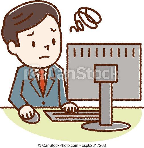 見なさい, 若い見ること, コンピュータ, 悩まされている, 人 - csp62817268