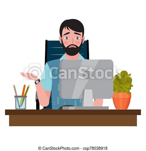 見る, オフィス椅子, 人間が座る, 混乱, 机, コンピュータモニター - csp78038918