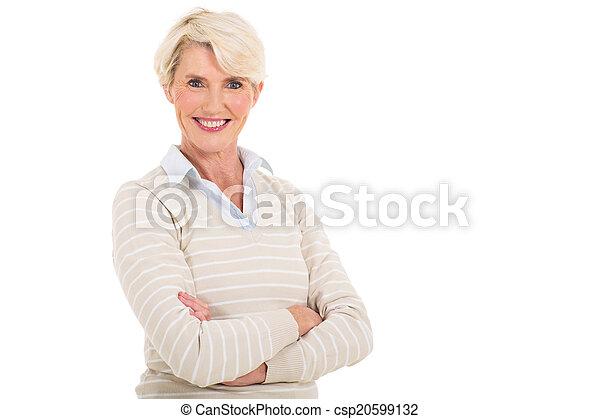 見る, カメラ, 年齢, 女, 中央の - csp20599132