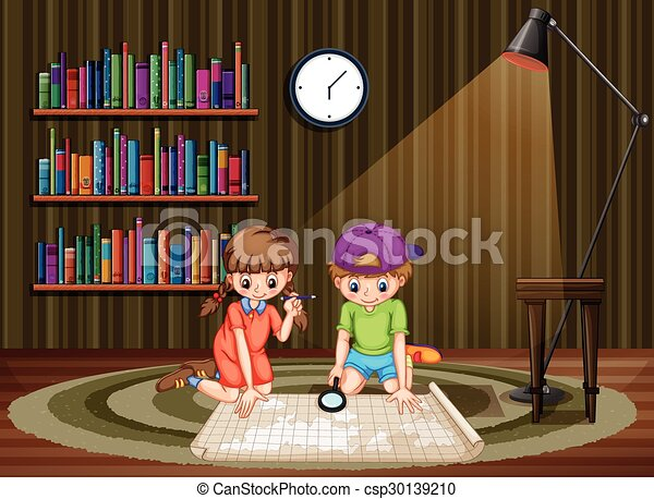 見る, 地図, 部屋, 子供 - csp30139210