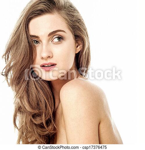 見る, 女の子, 誘惑的, 魅力的, 離れて - csp17376475