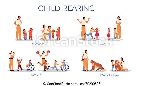 親であること, 家族, 影響, set., 子供, 後ろ足で立つ, 概念, 子供 - csp79290828