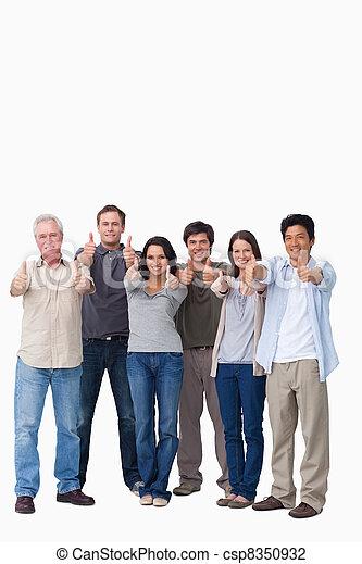 親指, グループ, 微笑, 諦める - csp8350932