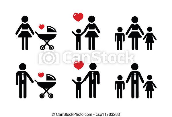 親, 家族, アイコン, -, 印, 単一 - csp11783283