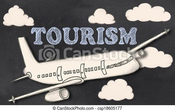 観光事業, 黒板 - csp18605177