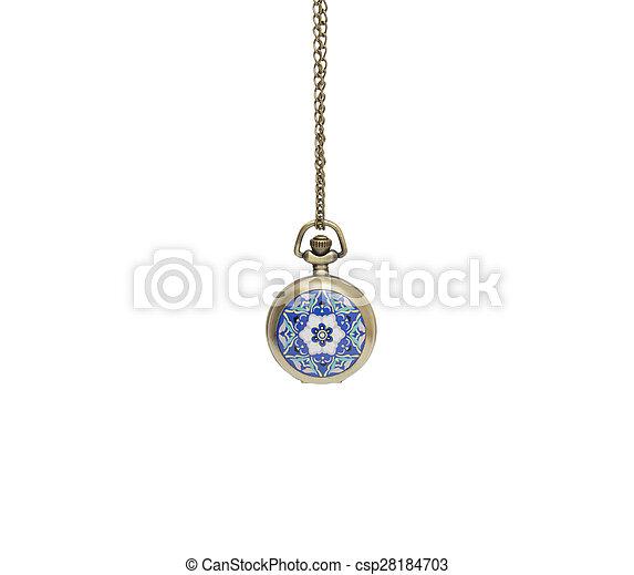 观看, 隔离, 口袋, 背景, 项链, 白色 - csp28184703