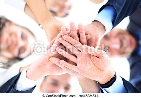 角度, 商务人士, 低, 小的组, 加入, 手, 察看 - csp18224514