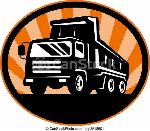 角度, 堆存处卡车, 低, 前面, 察看 - csp3518901