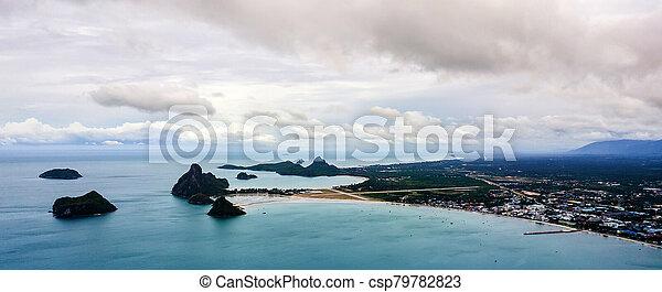 角度, 高く, 写真, 風景, 空中写真, 海岸, 浜 - csp79782823