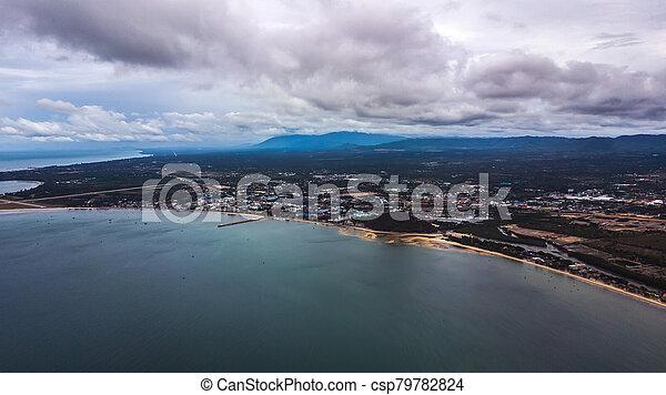 角度, 高く, 写真, 風景, 空中写真, 海岸, 浜 - csp79782824