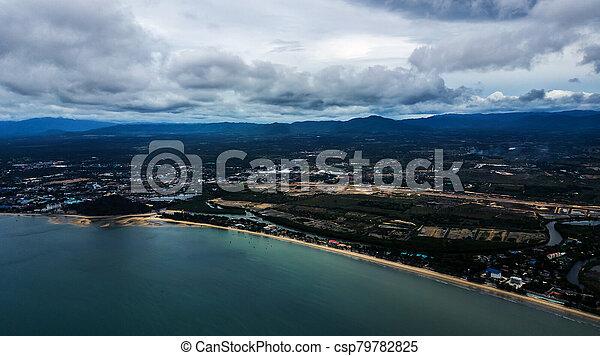 角度, 高く, 写真, 風景, 空中写真, 海岸, 浜 - csp79782825