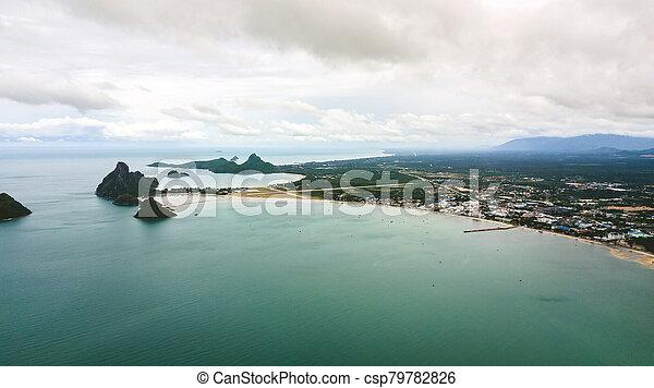 角度, 高く, 写真, 風景, 空中写真, 海岸, 浜 - csp79782826