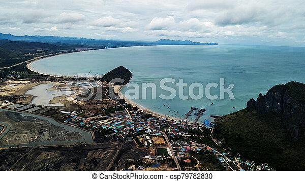 角度, 高く, 写真, 風景, 空中写真, 海岸, 浜 - csp79782830
