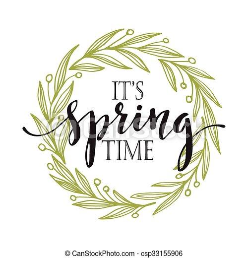 言葉, ベクトル, wreath., 春, イラスト - csp33155906