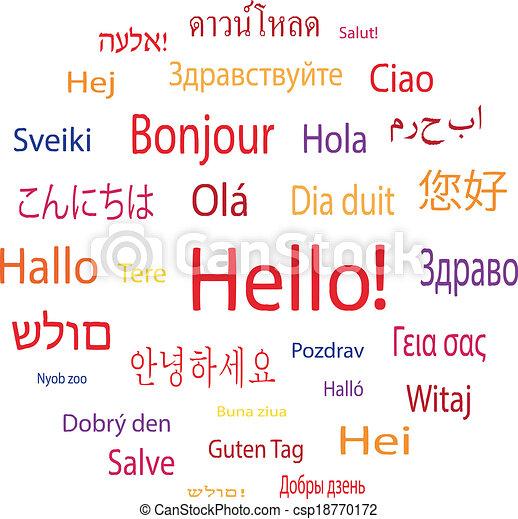 言語, 世界, 単語, こんにちは - csp18770172