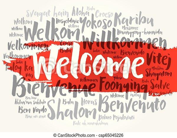 言語, 別, 歓迎, 単語, 雲 - csp65045226