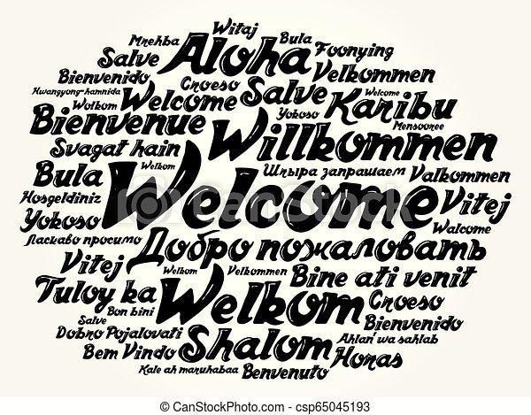 言語, 別, 歓迎, 単語, 雲 - csp65045193