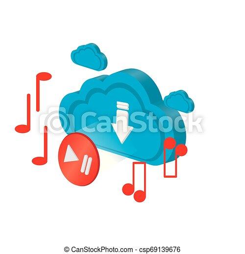 計算, メモ, 3d, ミュージカル, 雲, アイコン - csp69139676