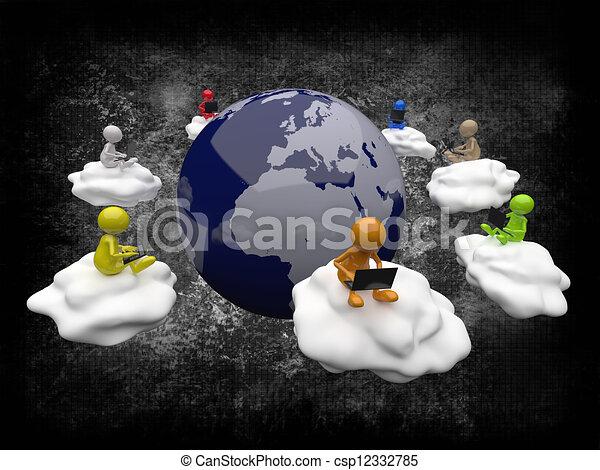 計算, 3d, 雲, 人々 - csp12332785